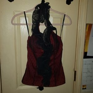 Maroon and black lace halter mesh neckline top